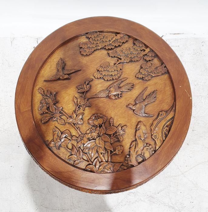 20th century Chinese hardwood circular table, carved decoration, 80cm diameter approx. - Image 2 of 2