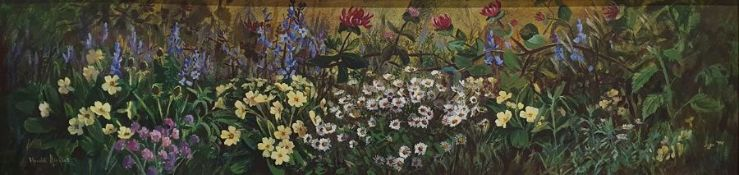 S Anqus Oil on board Wild flowers, signed lower left, 30cm x 121cm Downey(?) Oil on canvas
