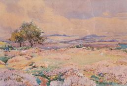 Donald Henry Floyd (1892-1965) Watercolour Heather landscape scene, signed lower left, 37cm x 55cm