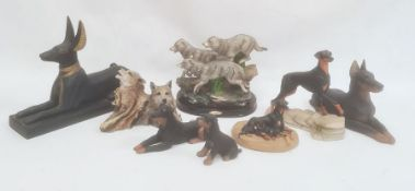 Quantity of dog ornamentsincluding a Juliana Collection model of wolves, Anubis dog model, etc (8)