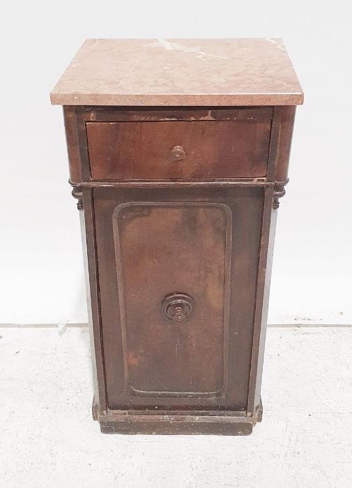 Pot cupboard, pink marble top with single drawer and cupboard door, plinth base