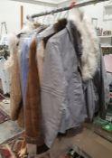 Lady's sheepskin jacket, a lady's blue suede jacket, a Dorothy Perkins fur trimmed leather giletand
