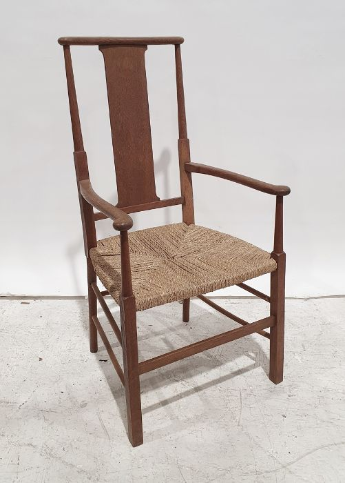 20th century oak Arts and Crafts style chair with rush seating