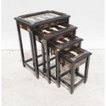 Chinese style nest of four coffee tables and a lampand a shibayamascreen (3)