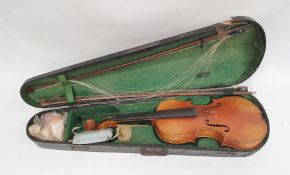 Violinwith two-piece back, with two bows, in case and another violin in case and a soft case (3)