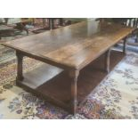 20th century rectangular oak coffee table on turned and block supports, shelved undertier, H47cm X