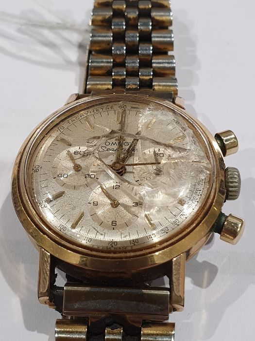 Omega Seamaster gentleman's gold-plated chronograph bracelet watch, the silvered dial with baton - Image 6 of 8