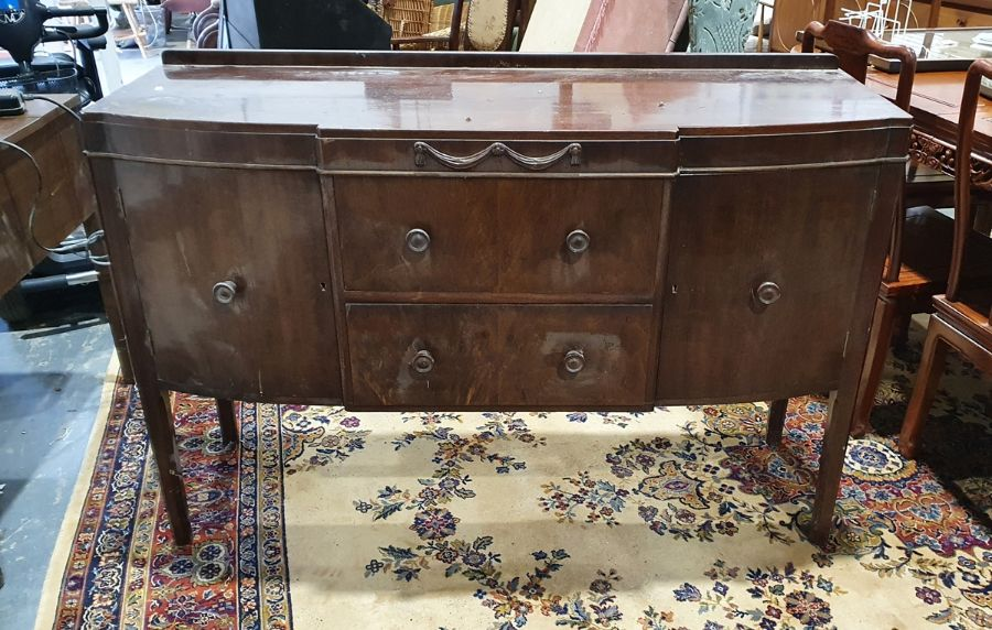 1930's mahogany breakfront sideboard, two drawers, two cupboard doors, faceted supports, 136cm x