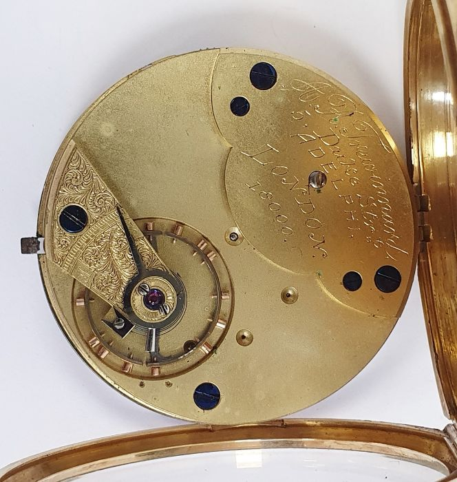 Gents 18ct gold keyless lever open-faced pocket watch, Roman numerals and subsidiary seconds dial - Image 4 of 5