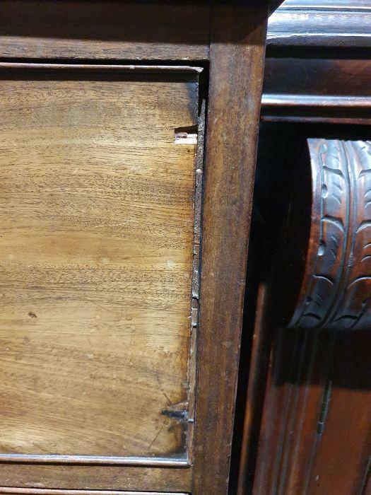 19th century mahogany linen press, two flame mahogany doors enclosing linen press drawers, base - Image 9 of 21