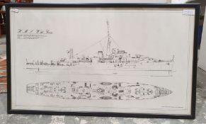 After John Lambert (20th century) Colour print HMS Wild Goose, together with various further similar