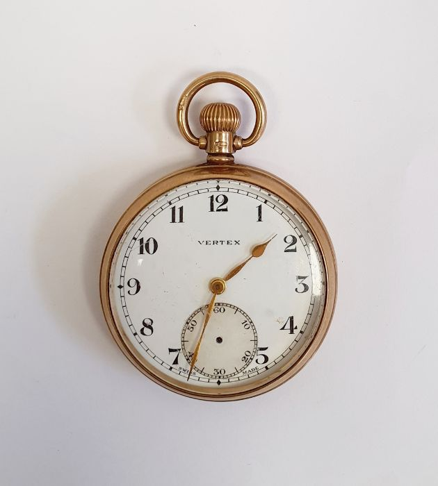 9ct gold Vertex open faced pocket watch, with subsidiary dial, inscribed to the inside ' Presented