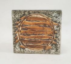 Troika pottery vaseof square form with incised architectural and abstract panels, in greens and