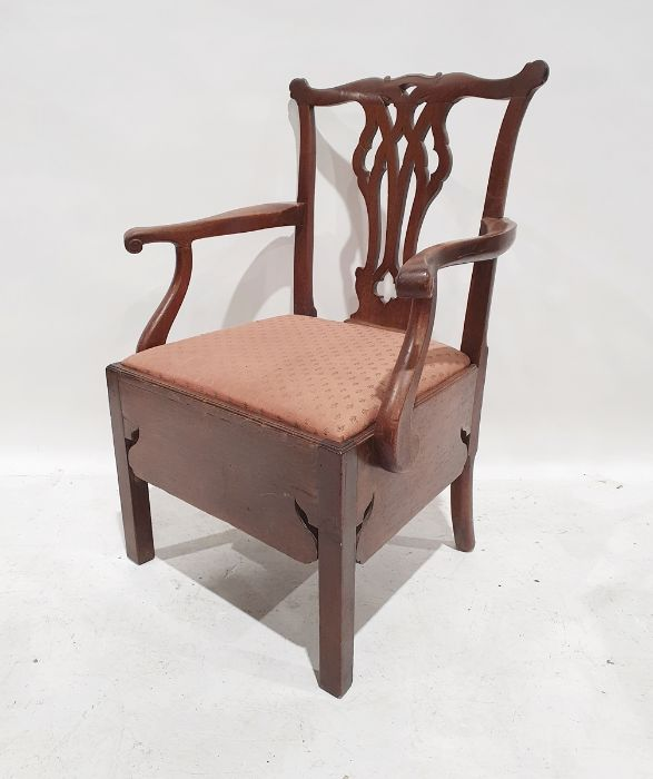 19th century mahogany commode chairwith carved and pierced backsplat