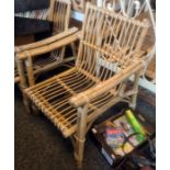 Two conservatory bamboo framed chairsCondition Report Wear and fading throughout. No obvious