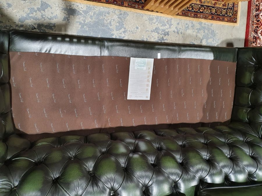 Modern green ground button-back Chesterfield sofa by Thomas LloydCondition ReportGood overall - Image 10 of 10