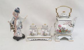 Lladro modelof a lady with prunus blossom and an umbrella anda Franklin Mint kettle and teapot set