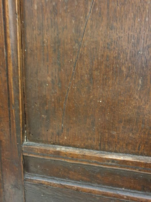 19th century oak cofferwith rectangular top, triple panelled front, channelled stile supports, - Image 2 of 6