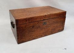 Oak box opening to reveal sectioned interior 59cm x 26.5cm