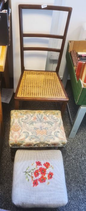 Chair and two stools (3)Condition Report Poppy Stool Dimensions Approx.: H19.5cm x W33cm x D33cm