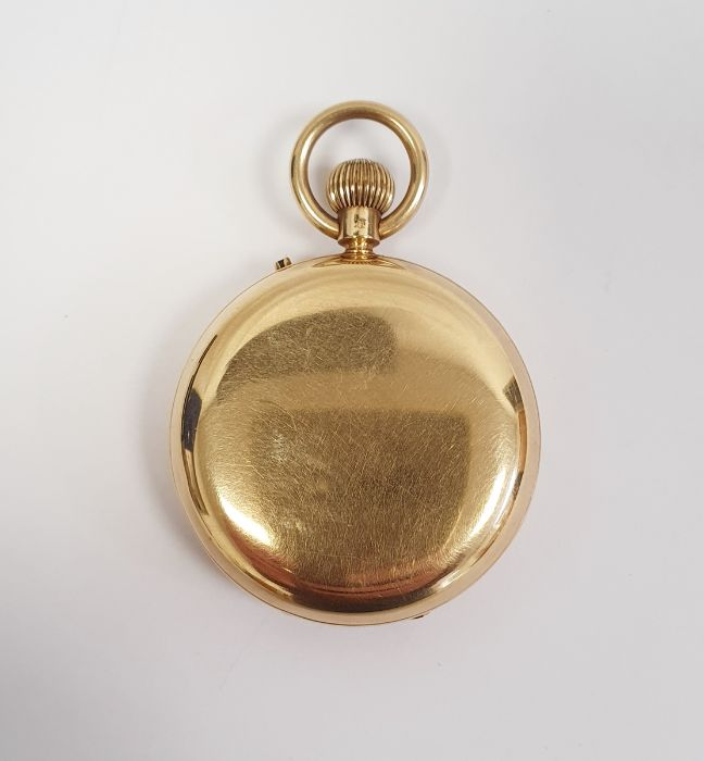 Gents 18ct gold keyless lever open-faced pocket watch, Roman numerals and subsidiary seconds dial - Image 2 of 5