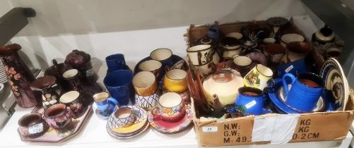 Large quantity of studio potteryincluding Watcombe and Motto ware, a dressing table set with floral