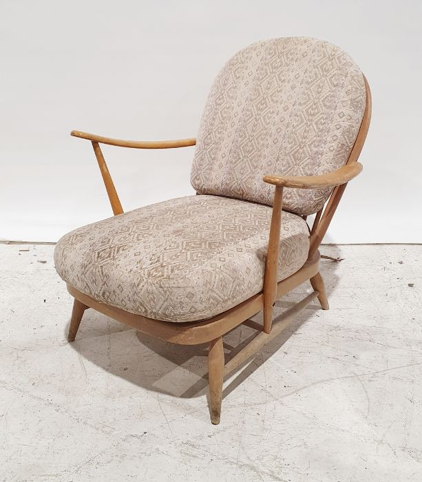 Light beech Ercol stickback lounge chairCondition Report Some scratches and wear throughout wood.