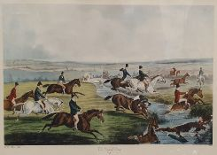 """Hunting print """"The Oxford Drag"""", dated 1848, 28cm x 52cm After Gerald Hare Colour print Hunting"""