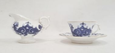 Royal Worcester cup and saucerdecorated with blue dragons on a white ground, with gilt rim, date