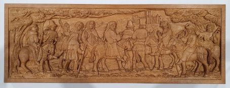 Carved oak panel of the Canterbury Pilgrims by Patrick Conoleydepicting figures on horseback in