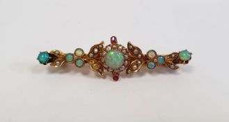 Gold seed pearl and opal set bar brooch leaf decorated, (unmarked), 4.5g in total approx.