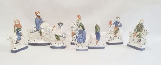 Quantity of Rye pottery models of figures on horseback, depicting characters from The Canterbury