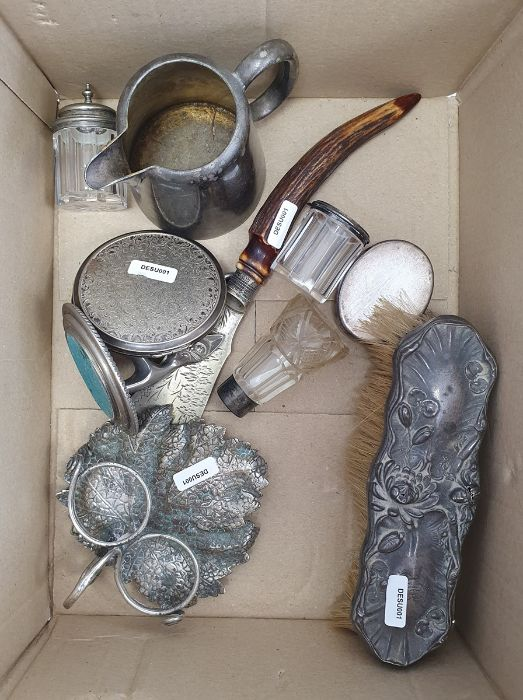 Quantity plated flatware,picture frame,two pots, ladle,dressing table sets, asmall quantity of - Image 2 of 4