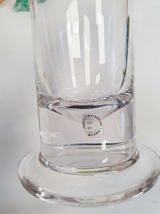 Sowerby glass Art Deco dressing table set, a Whitefriars jug, two Dartington candleholders by - Image 2 of 4