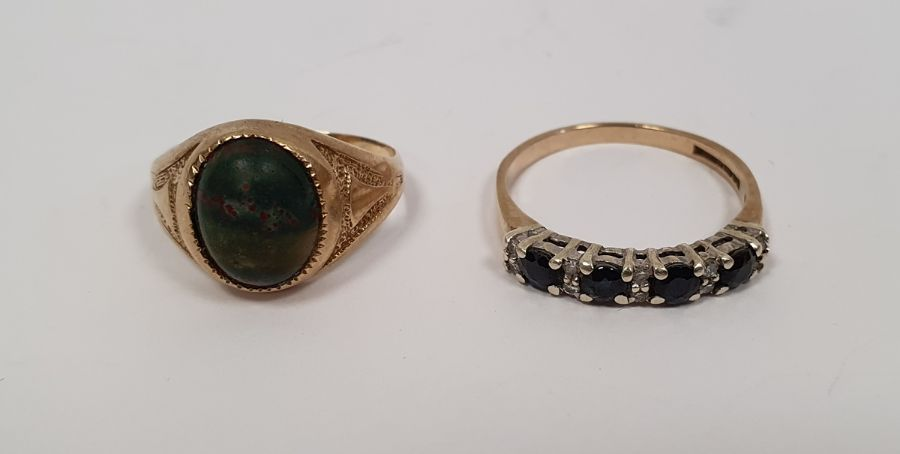 9ct gold and four stone sapphire ringwith diamond points, finger size M and a 9ct gold ringset - Image 5 of 7