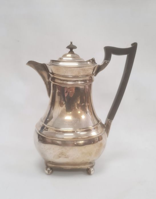 1930's silver coffee potwith ebony handle and finial, on bun feet, Sheffield 1932, maker James