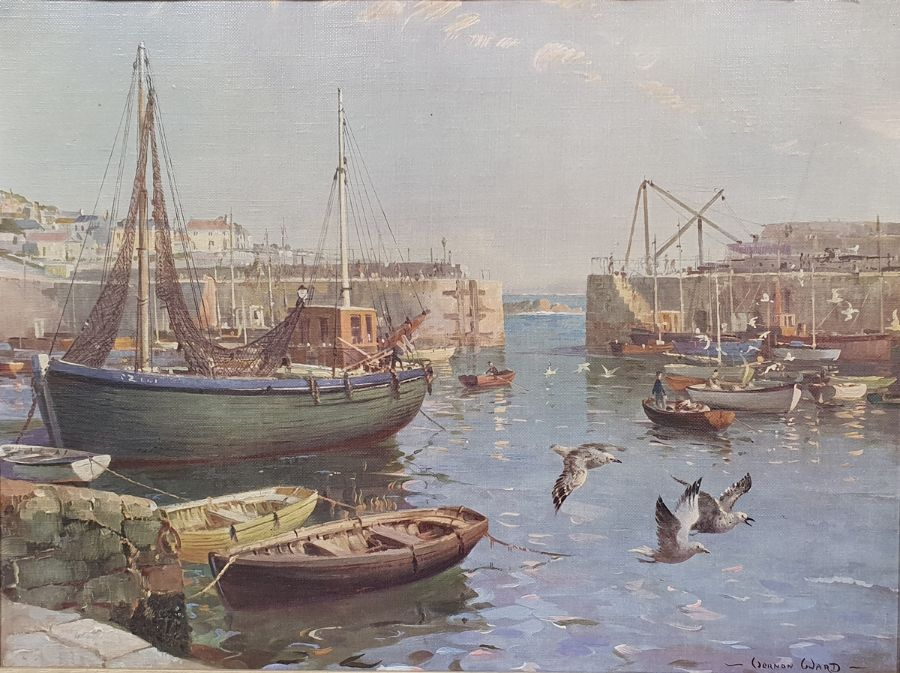 Oval mirror anda convex circular mirrorin gilt frames and two framed prints of harbour scenes