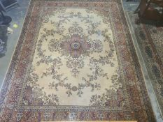 Modern Grosvenor yellow ground rugwith foliate decoration, stepped border, 362cm x 275cm,two