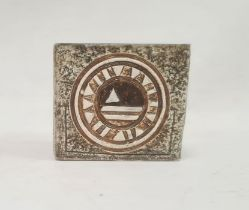 Troika pottery vaseof square form with incised decoration, in browns and greens, 8.5cm high x 9.5cm