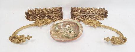 Pair of ormolu wall bracketswith garland decoration, a pair of gilt metal curtain tiebacksof