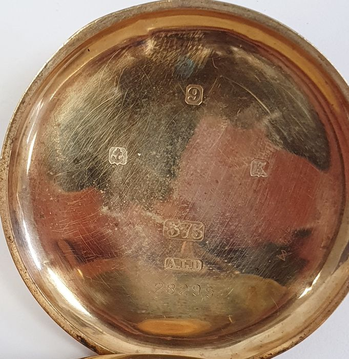 9ct gold Vertex open faced pocket watch, with subsidiary dial, inscribed to the inside ' Presented - Image 3 of 6