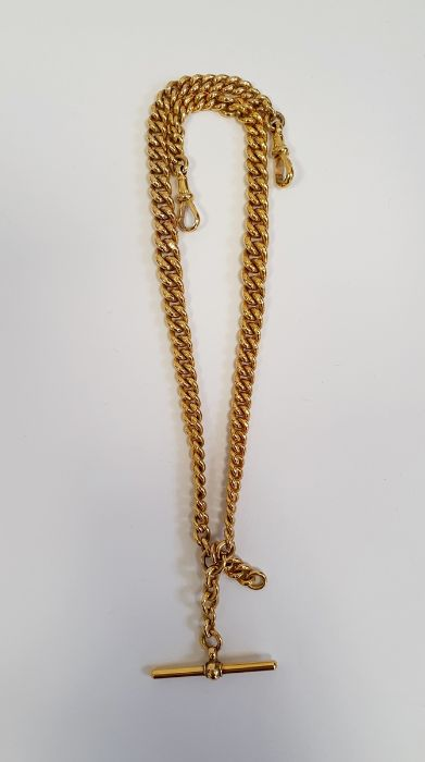 9ct gold albert chain with clip and bar, 52.5g approx.Condition ReportYellow gold Approx. Length (