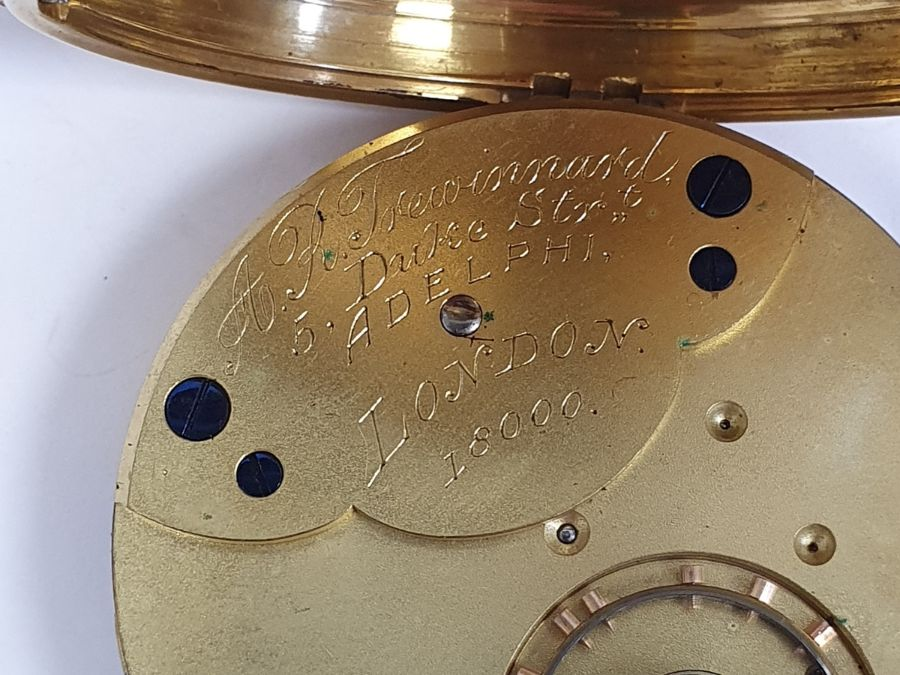 Gents 18ct gold keyless lever open-faced pocket watch, Roman numerals and subsidiary seconds dial - Image 5 of 5