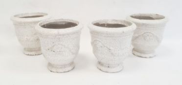 Set of four jardinieres with moulded swag decoration and craquelure white glaze, 17cm high (4)