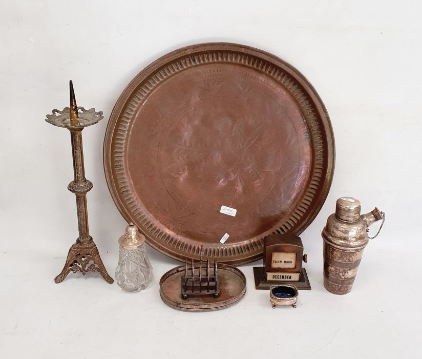 A silver plated salt, copper circular tray, plated and glass sifter and other metal ware (1 box)