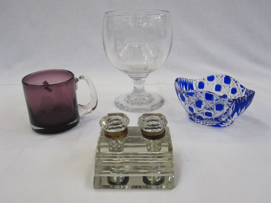 20th century clear glass stepped inkwell, an 'ER Coronation June 2nd 1953' clear glass pedestal cup,