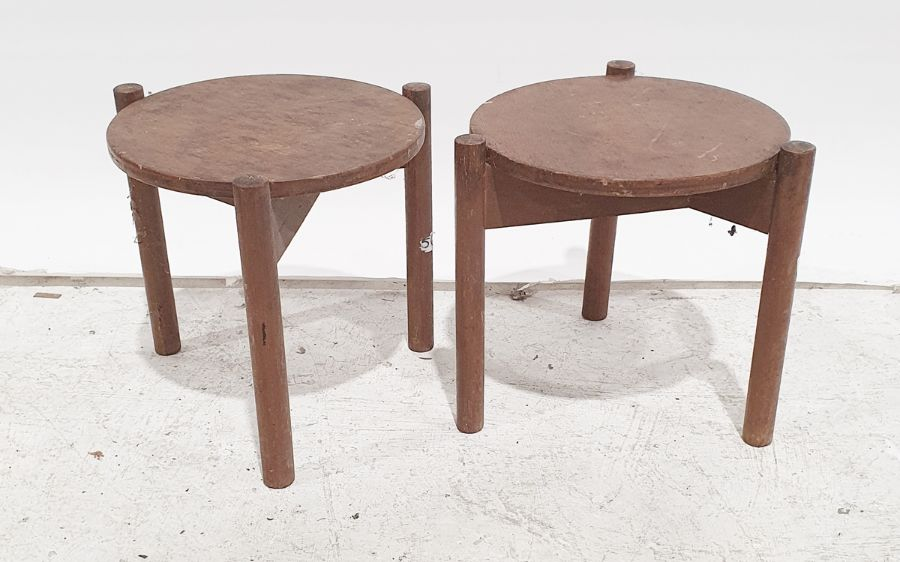 Pair mid-20th century modern teak side tables of circular form with turned supports, 35cm
