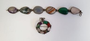 Agate bracelet, the six different agate panels in silver-coloured mounts, marked silver and a brooch