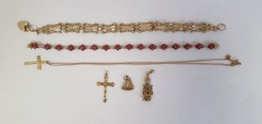 9ct gold gate-link bracelet with padlock clasp, 6.5g approx., 9ct gold cross on chain, 1.5g, a9ct