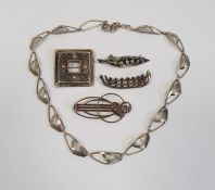 Edwardian silver brooch, Birmingham 1902, modelled as a spray of lily of the valley, a mid-century